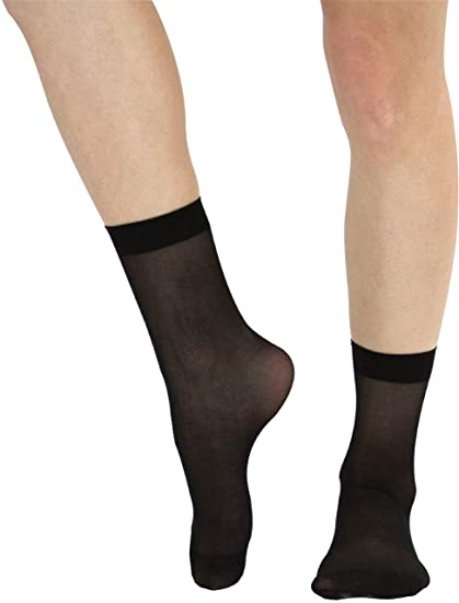 fbb69170427 ToBeInStyle Women s Sheer Ankle High Stockings - One Size - Black at ...
