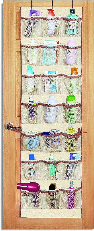 Smart Design Over-The-Door Organizer w/ 42 Pockets w/ Elastic Trim & Hanging Hooks - VentilAir Mesh Fabric - Shoes, Pantry, & Closet Storage - Home Organization (21 x 73 Inch) (Natural Canvas)