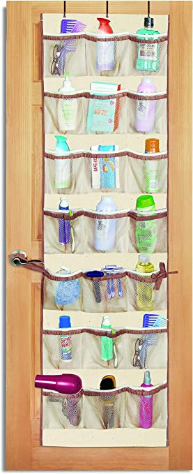 Amazon Com Smart Design Over The Door Organizer W 42 Pockets W Elastic Trim Hanging Hooks Ventilair Mesh Fabric Shoes Pantry Closet Storage Home Organization 21 X 73 Inch Natural