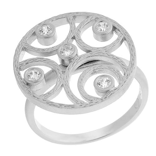 Orphelia Damen-Ring 925 Silber rhodiniert mattiert Zirkonia weiß Brillantschliff Gr. 50 (15.9)