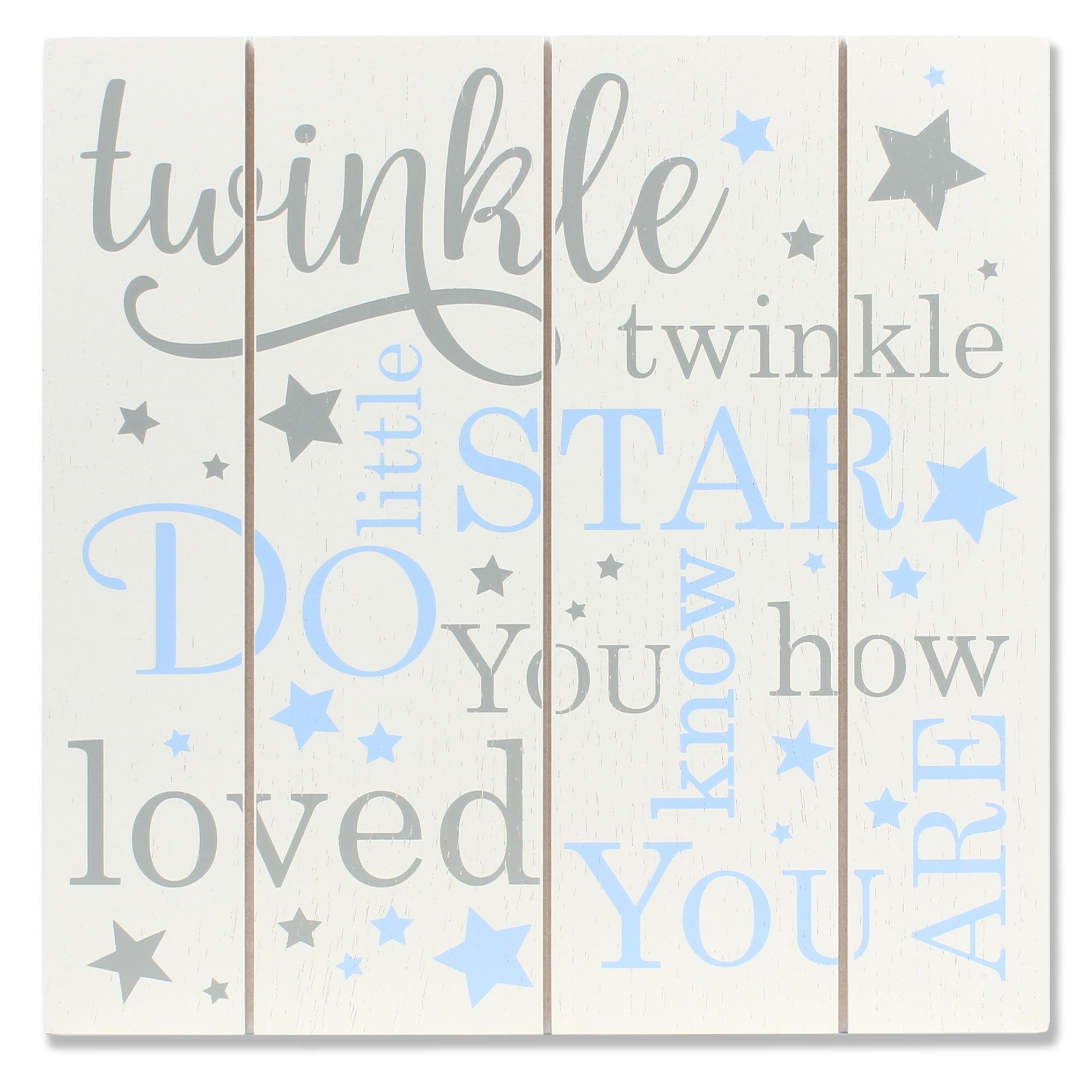 Lawrence Frames 9x9 Distressed White and Blue Wood Twinkle Panel Sign