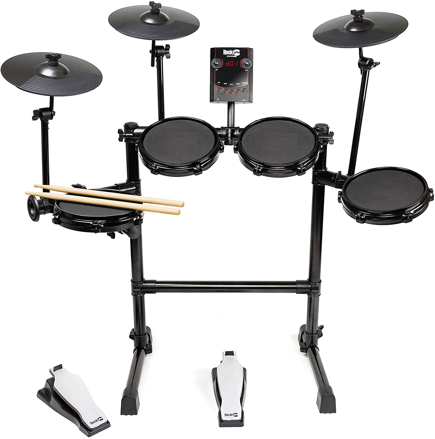 Eight Piece Electronic Drum Kit with Mesh Head Easy Assemble Rack and Drum Module including 30 Kits Renewed RockJam Mesh Head Kit USB and Midi connectivity
