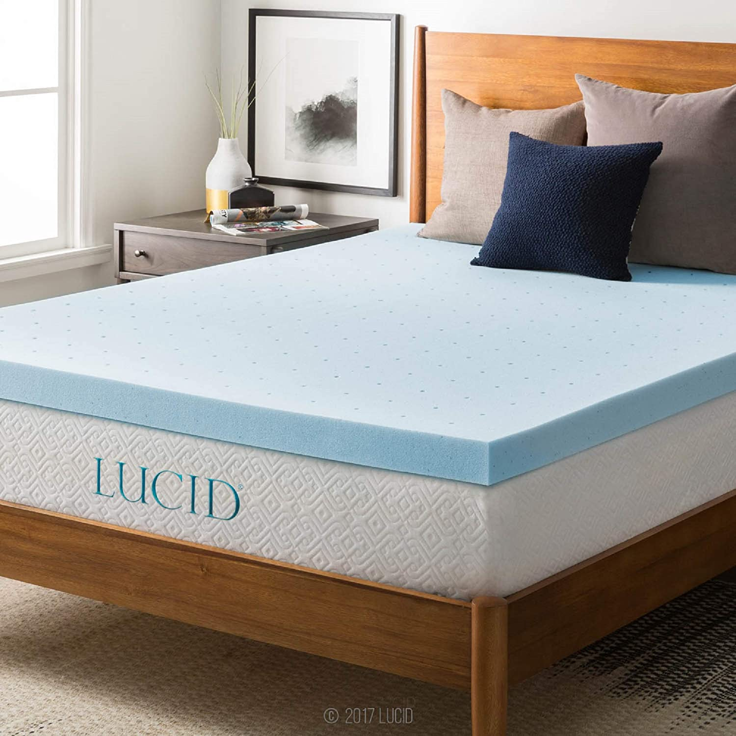 Lucid 3-inch Ventilated Gel Memory Foam Mattress Topper - Queen: Home & Kitchen