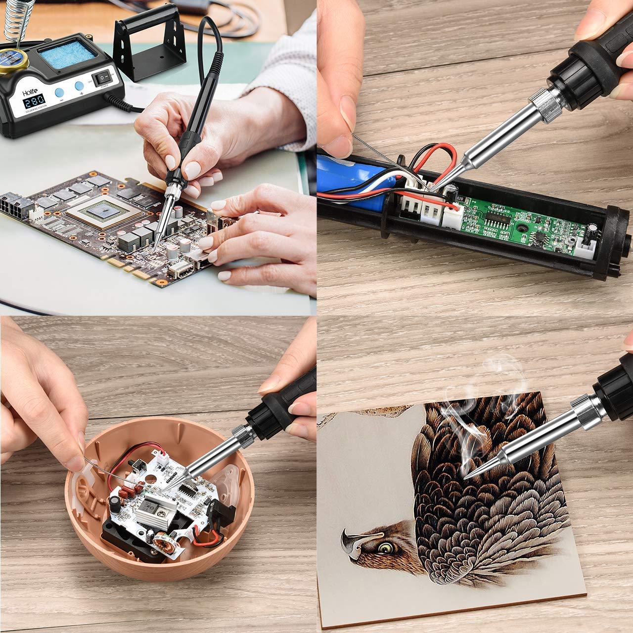 Konstanter Temperaturregelung L/ötrollenhalter Holife Digital Display 60W L/ötstation mit 5 Zus/ätzlichen L/ötspitzen Messingreiniger Sleep-Funktion ℉///°C-Schalter Schwamm