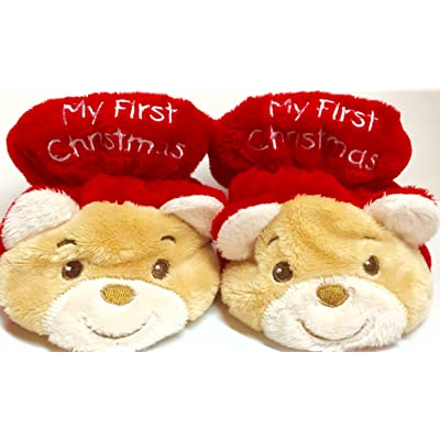 """Baby's First Christmas Booties/socks/slipper/shoes (Adorable Bears!) """"My First Christmas"""""""