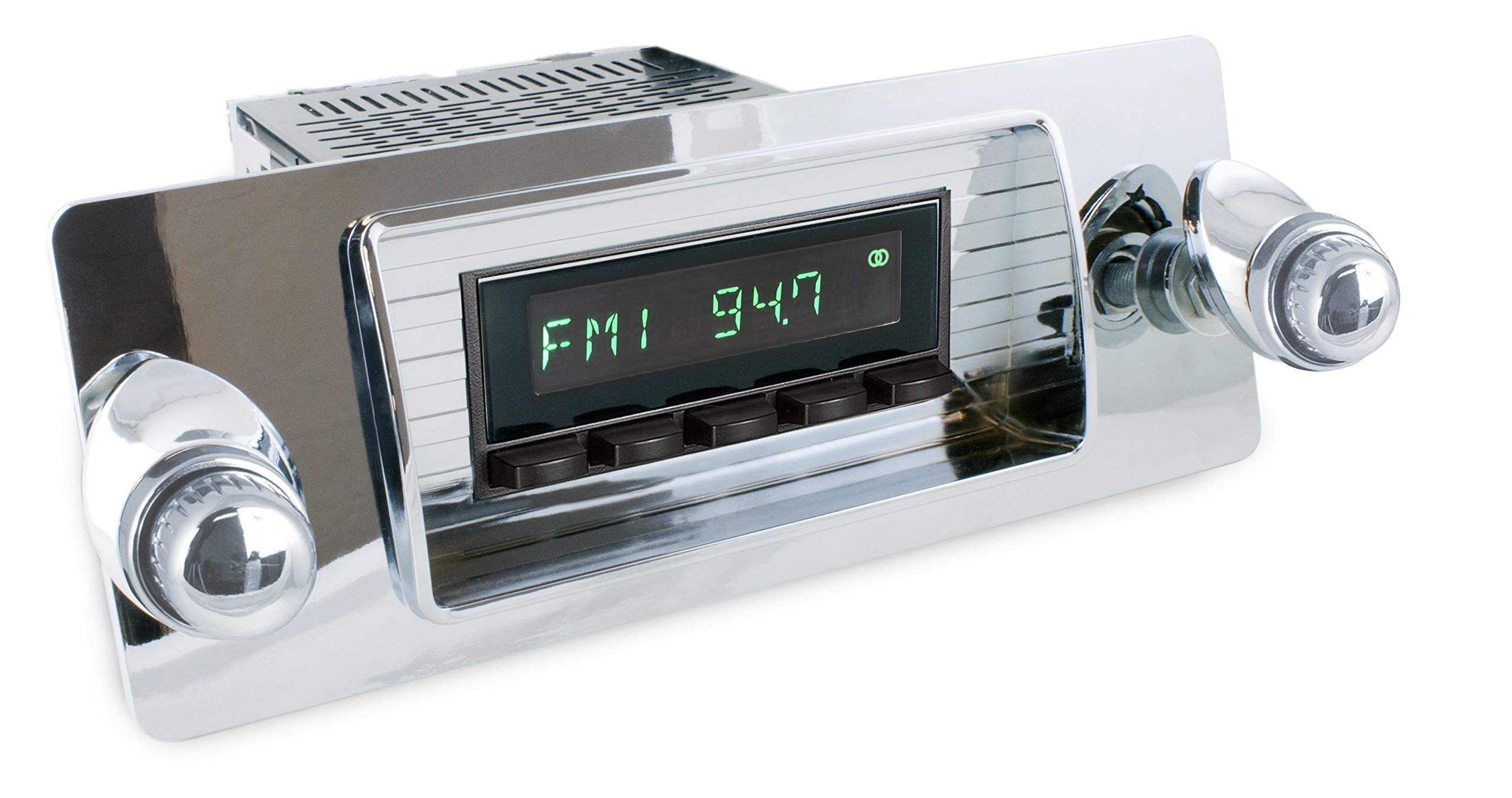 RetroSound HC-126-08-80 Hermosa Direct-Fit Radio for Classic Vehicles Chrome Face and Buttons, Chrome Bezel