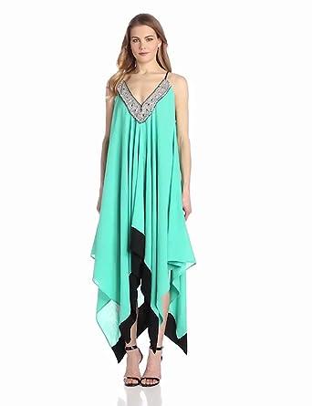 MISA Women's Gauze Beaded Neck Detail Handerkerchief Hem Dress, Green, One size