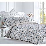 Double Bed Floral Blue Thermal Flannelette 100 % Cotton Duvet Cover Bedding Set Winter Warm Bedding- Emily Rose