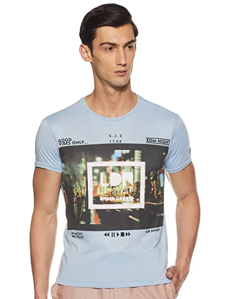 74b81904ad Solly Jeans co Men s T-Shirt (8907587855301 ALKC517J01299 S Dark Grey With  Black)