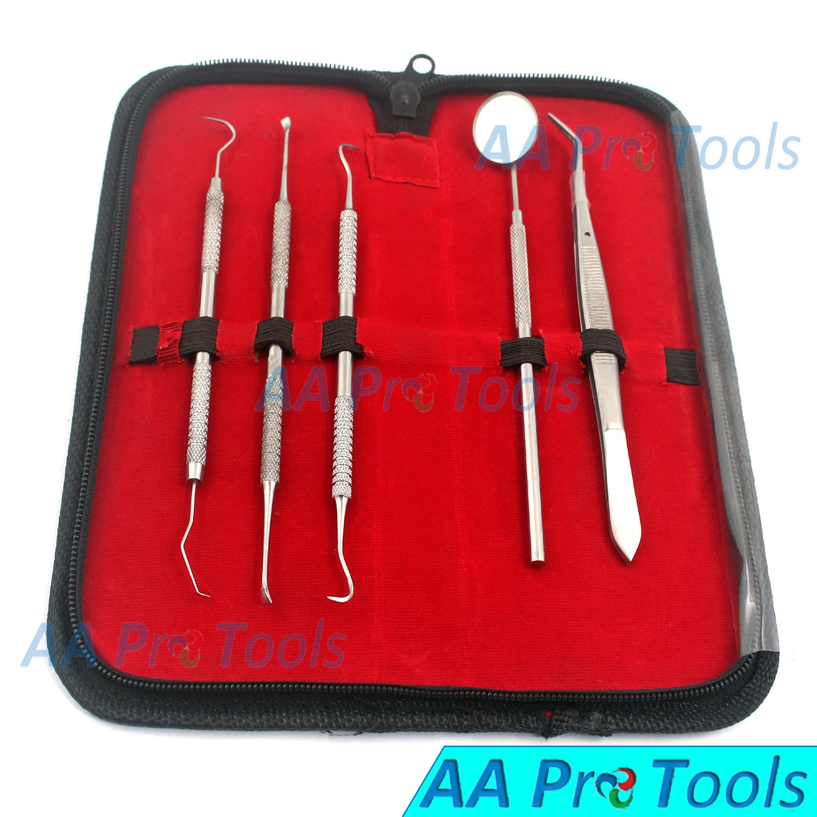 DENTIST TOOLS KIT BY AA PRO – SET OF DENTAL TOOLS– INCLUDED ANTI FOG MIRROR, TARTAR SCRAPER, DENTAL PICK, DENTAL SCALER, DENTAL FORCEPS AND CARRYING POUCH - FOR BOTH PERSONAL AND PET USE