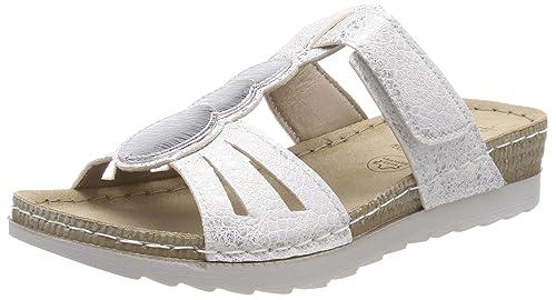 27216, Mules para Mujer, Blanco (White/Silver), 37 EU Jana