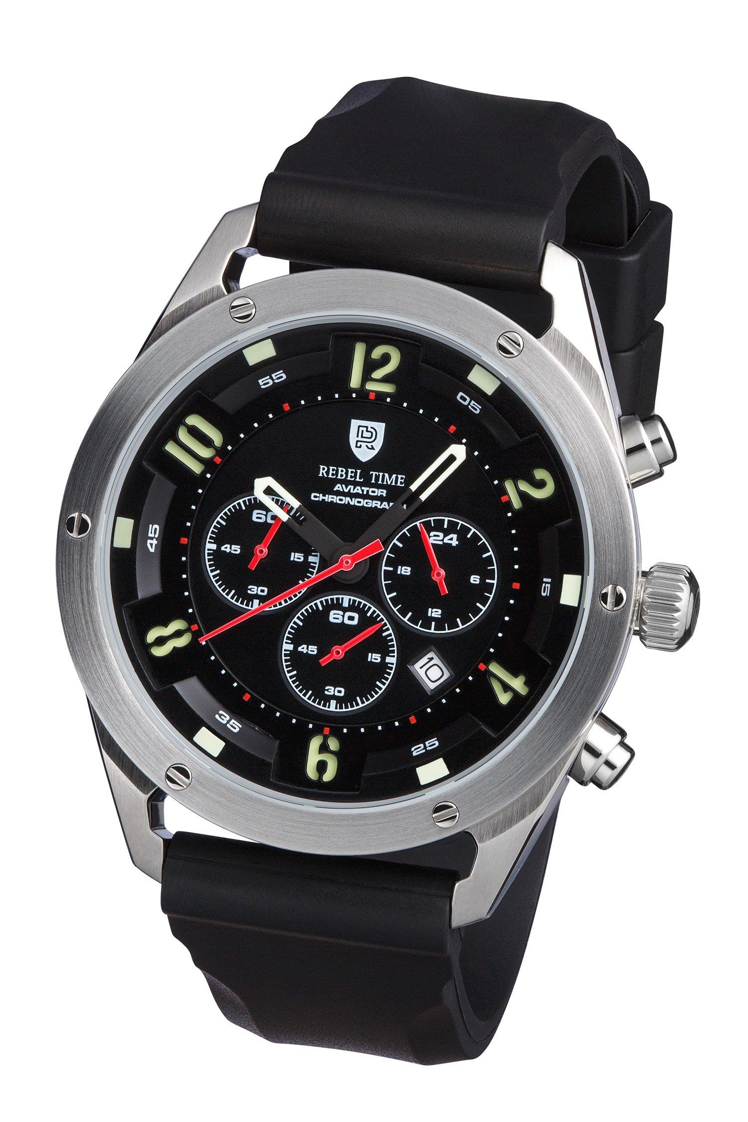 Rebel Men's Aviator Night Black Stainless Steel Chronograph Pilot Watch 100 Meter WR