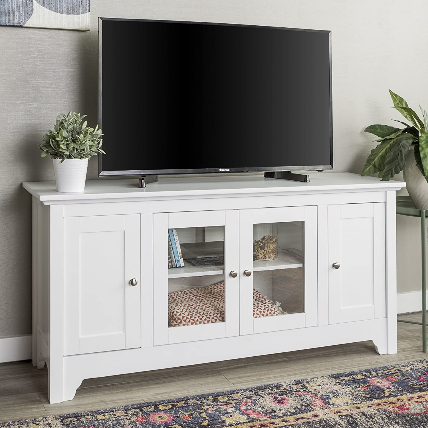 WE Furniture White 52 Wood Modern Highboy Style Tall TV Stand for Flat Screen TVs Up to 65 Entertainment Center