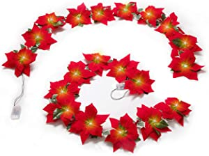 Geefuun 2PCS Poinsettia Christmas Flowers Decorations Garland String Lights - 13FT Xmas Tree Artificial Ornaments for Indoor/Outdoor Party Decor,with Red Berries Holly Leaves (Batteries Not Included)