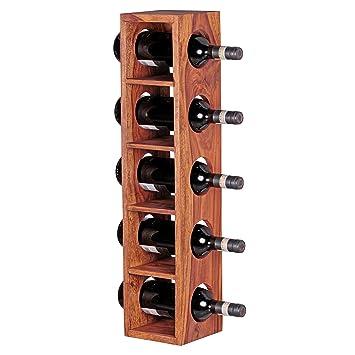 FineBuy Weinregal Massiv Holz Sheesham Flaschen Regal Wandmontage Für 5  Flaschen Holzregal Modern Mit