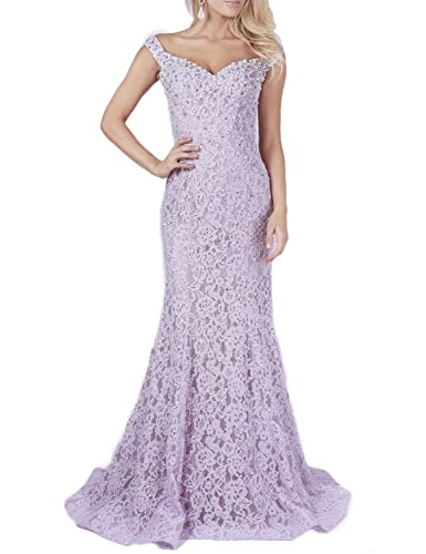 YSMei Womens Off Shoulder Long Lace Evening Prom Dress Mermaid Beads 2017 YPM418