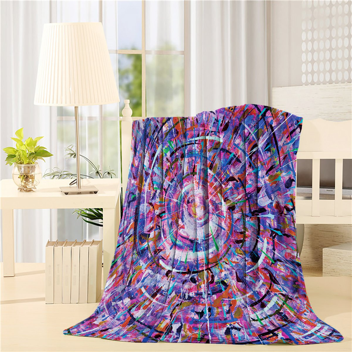 free shipping CHARMHOME Ultra Plush Comfort Throw Blanket 40 x 50 inch Lightweight Flannel Fleece Bed Blanket for Bedroom Living Rooms Sofa Couch - Abstract Art Paintings Purple