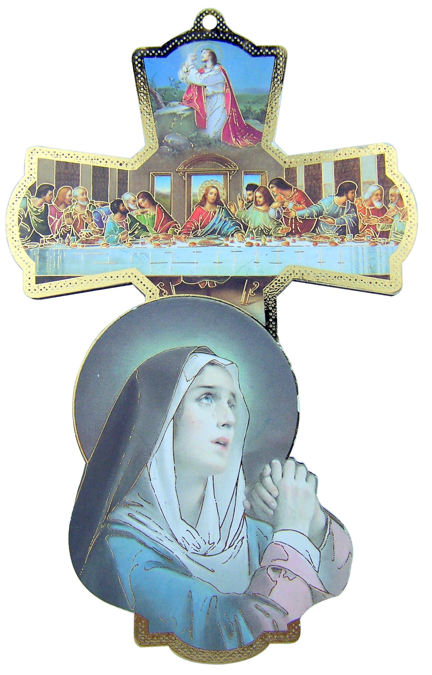 Religious Gifts Sorrowful Mother Virgin Mary Last Supper Jesus Christ with 12 Apostles 6 Inch Wood Wall Cross