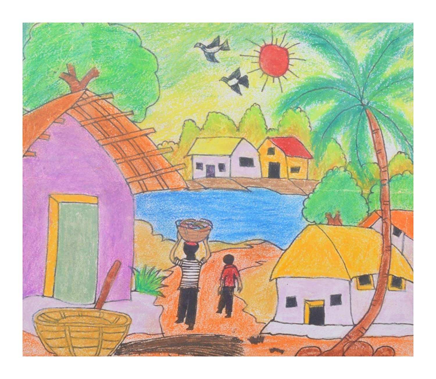 Rajs creation paper village life drawing 18 cm x 24 cm x 2 cm amazon in home kitchen
