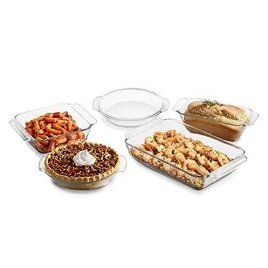 Libbey Baker's Premium 5-Piece Glass Casserole Baking Dish Set