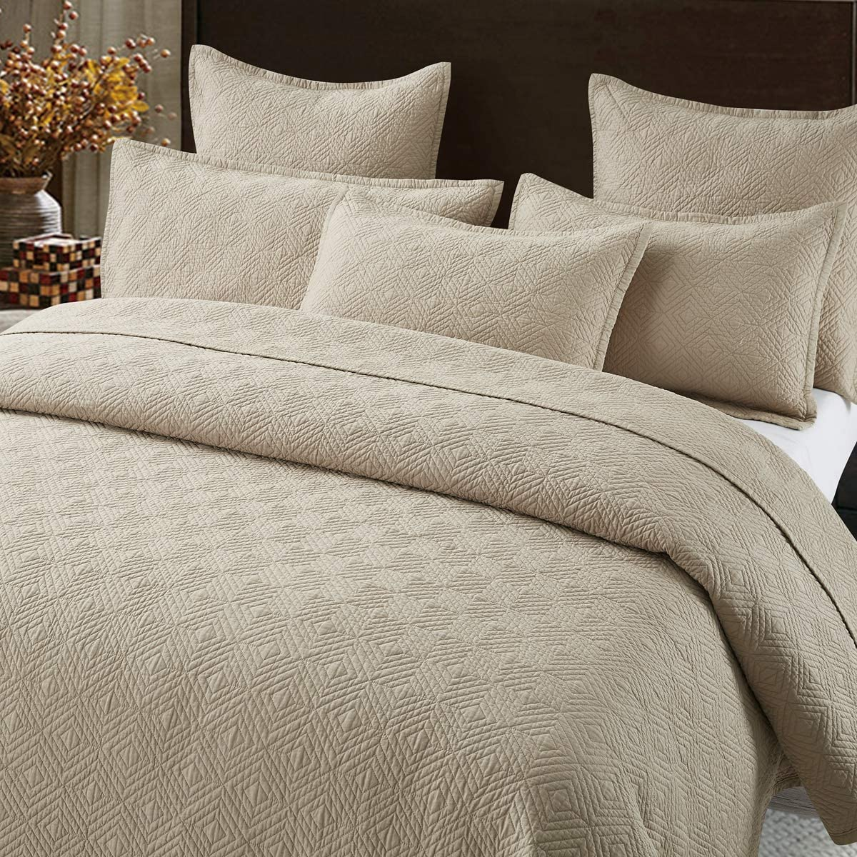 Calla Angel Evelyn Stitch Diamond Pure Cotton Quilted Pillow Sham 26 x 26, Sand, Euro