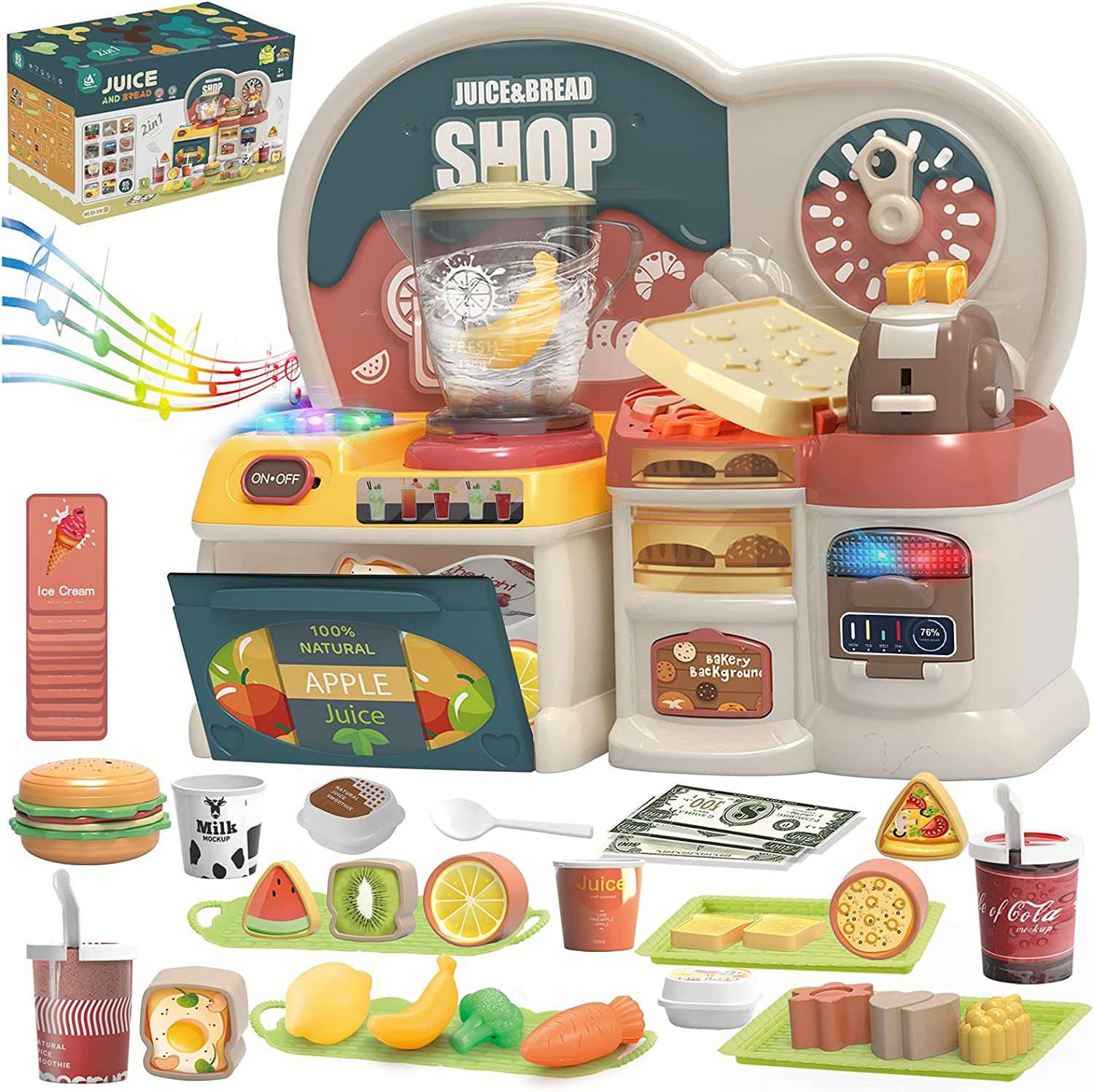 Kitchen Toys for Kids - Toaster & Juice Blender Pretend Play Set w/ Light, Music, Play Food, Encourage Imaginative Play Kitchen Playset, 65 Pcs Fun & Colorful Kitchen Accessories Toy for Girls & Boys