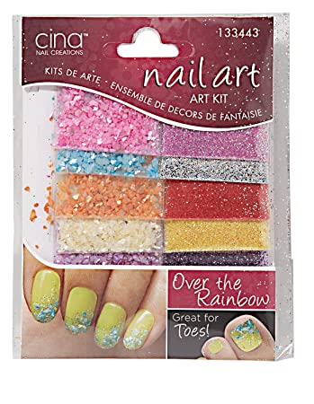 Amazon Com Cina Nail Creations Over The Rainbow And Crushed Shells Glitter Jewelry Decals Over The Rainbow Crushed Shells Glitter Beauty