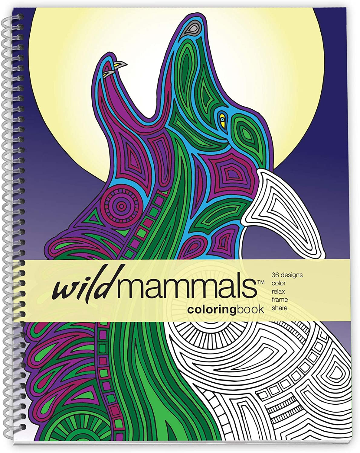 Action Publishing Coloring Book: Wild Mammals · Tribal Inspired Designs of Big Cats, Elephants, Primates and More for Stress Relief, Relaxation and Creativity · Large Sidebound (8.5 x 11 inches)