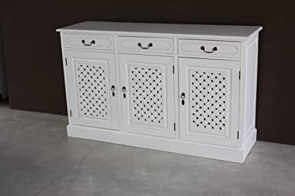 Vintage White Mobile Buffet coloniale Stile Shabby Chic in Legno ...