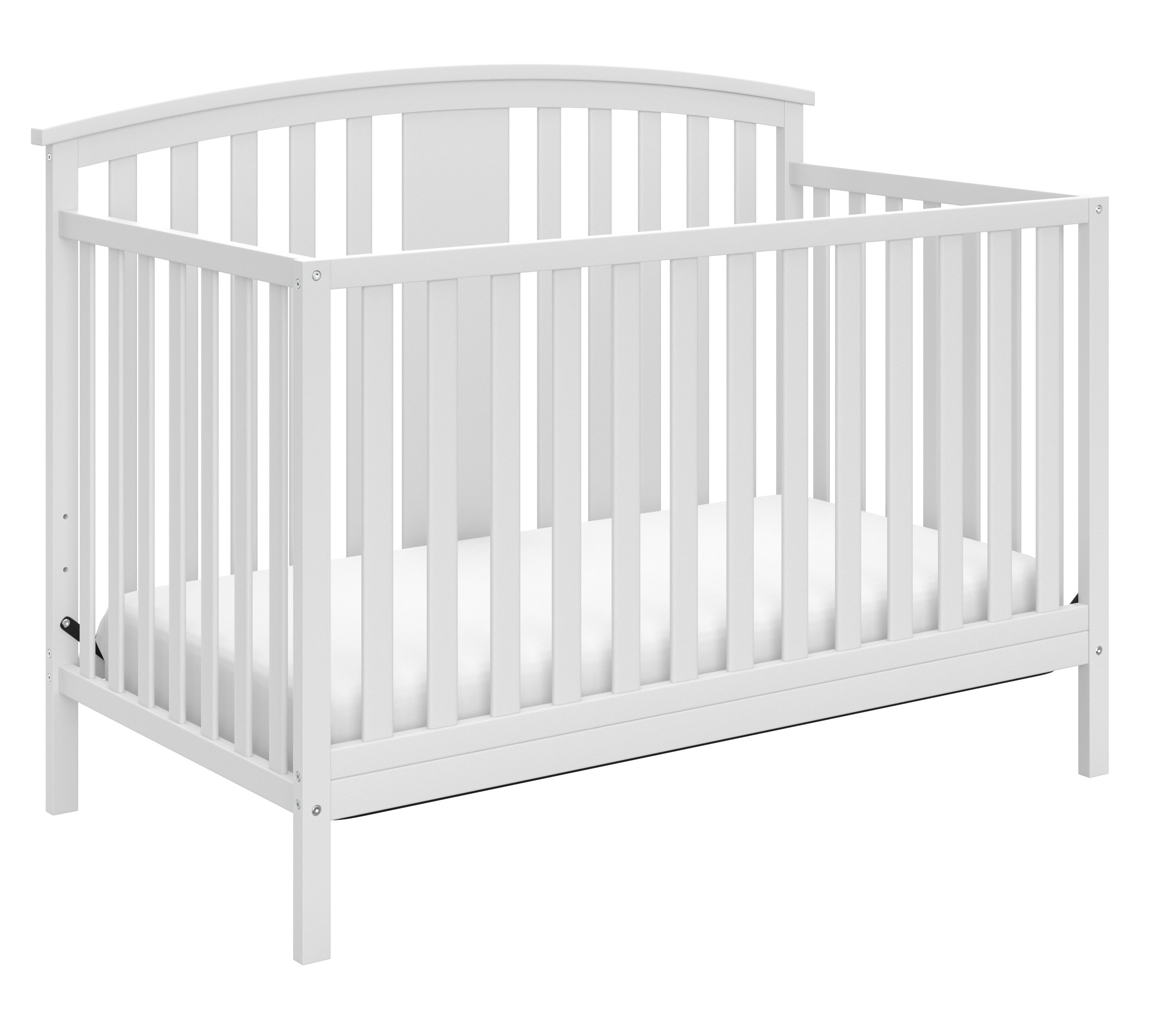 Storkcraft Greyson 4-in-1 Convertible Crib, White Easily Converts to Toddler Bed, Day Bed or Full Bed, 3 Position Adjustable Height Mattress by Storkcraft
