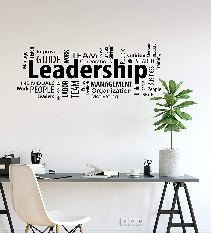 DesignToRefine Vinyl Wall Decal Leadership Business Motivational Words Cloud Office Team Work Stickers Mural Large Decor (ig6225) Black