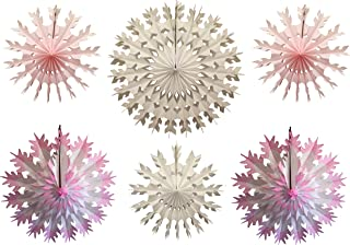 product image for 6-Piece Multi-Colored Tissue Paper Snowflake Party Decoration Kit (Pink and White, 15-22 inches)