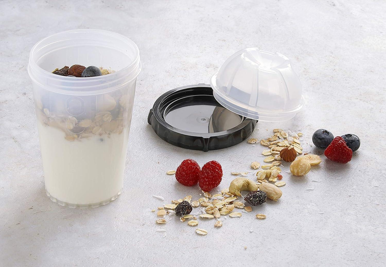 Joghurtbecher mit verschlie/ßbaren Zusatzbeh/älter Farbe: Transparent//Schwarz FACKELMANN M/üsli-to-go-Becher Reisebecher f/ür gesunde Snacks Menge: 1 St/ück