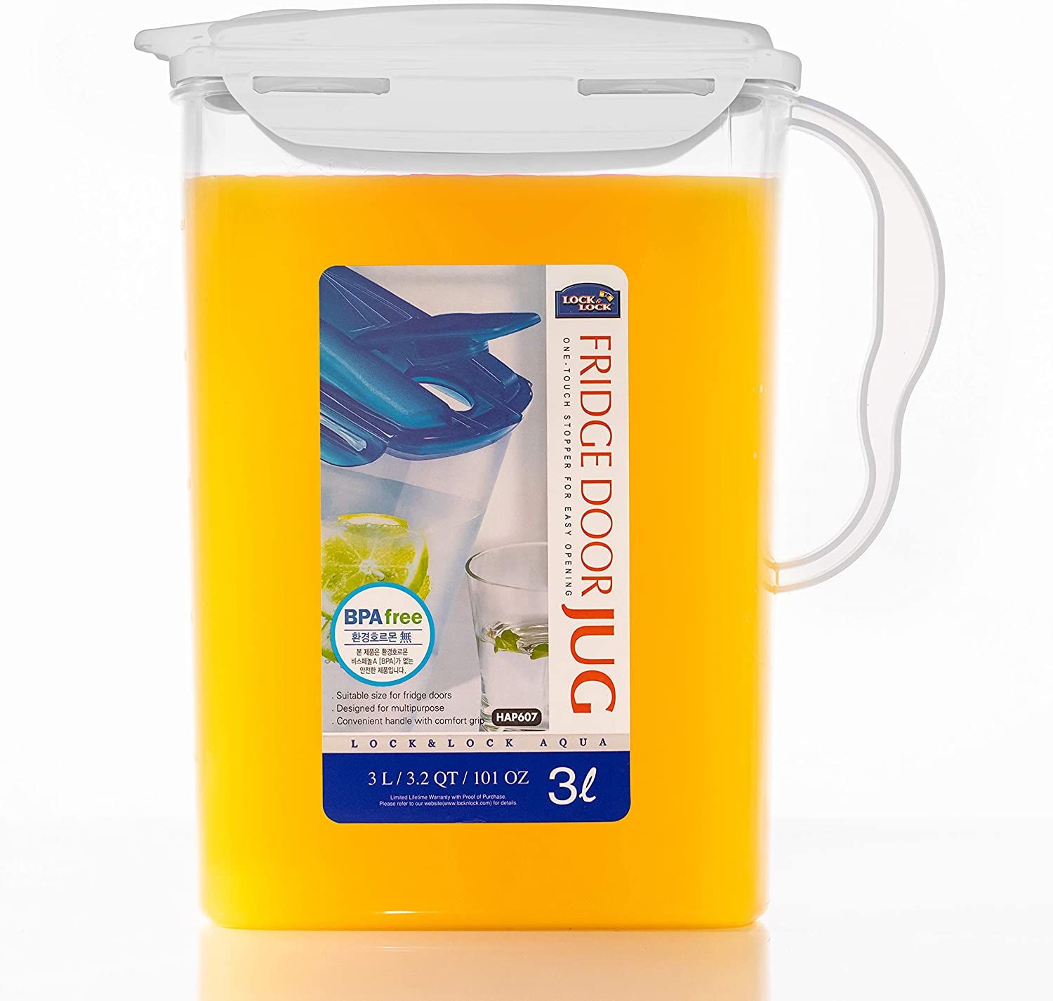 LOCK & LOCK Aqua Fridge Door Water Jug with Handle BPA Free Plastic Pitcher with Flip Top Lid Perfect for Making Teas and Juices, 3 Quarts, White