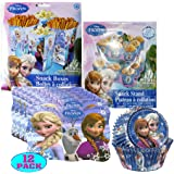 Disney Frozen Party Decor Supply Pack! Includes Snack Boxes, Cupcake Snack Stand, Cupcake Baking Liners & Disposable Placemats!