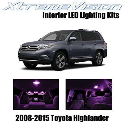 XtremeVision Interior LED for Toyota Highlander 2008-2015 (16 Pieces) Pink Interior LED Kit + Installation Tool: Automotive