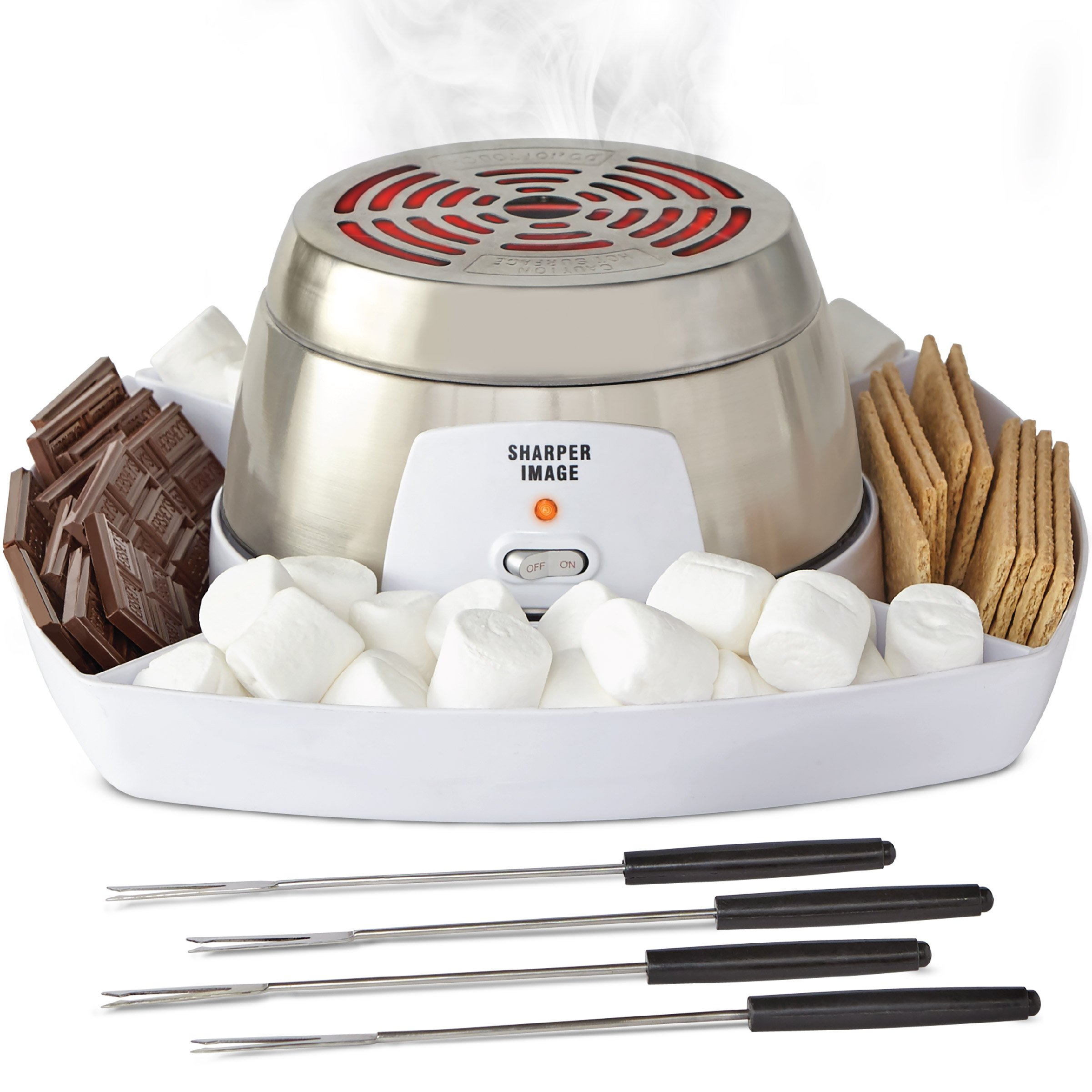 Sharper Image Electric Tabletop S'mores Maker for Indoors, 6 Piece Set Includes Stainless Steel Range, Serving Tray w/Compartments for Chocolate, Graham Crackers, Marshmallows, 4 Roasting Forks