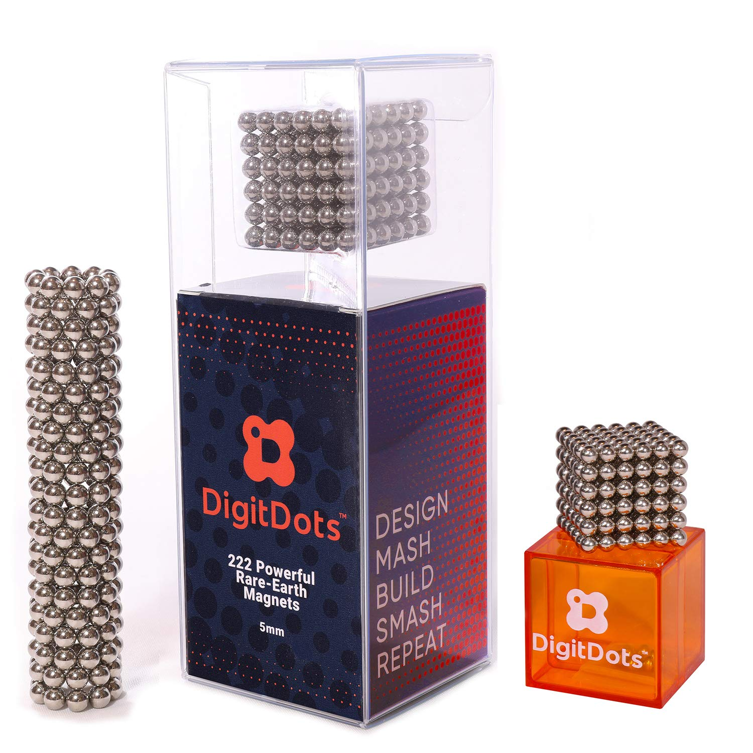 BrainSpark DigitDots | 5mm Magnetic Balls | The Original | Updated for 2019 | Fidget Toys for Adults | Rare Earth Magnets | Desk Toys | Desk Games | Magnet Toys | Magnetic Balls | Stress Relief Toys