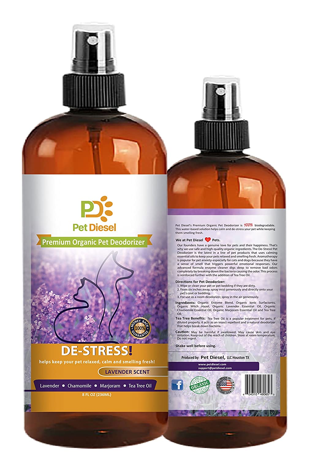 Premium Pet Deodorizer By Pet Diesel | Pet Cologne | Pet Perfume| Organic Deodorant With Enzyme, Lavender, Majoram & Chamomile Scent | For Odor Elimination & Bacteria Removal | For Dogs, Cats & More