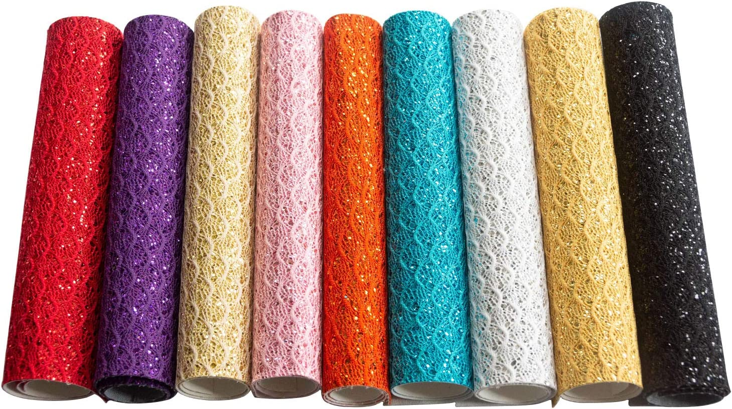 Assorted Colors DIY Shiny Craft Leather 9 Pieces 9/'/'x13/'/' Meneng Soft Shiny Lace Openwork Craft Glitter Faux Leather Shiny Lace