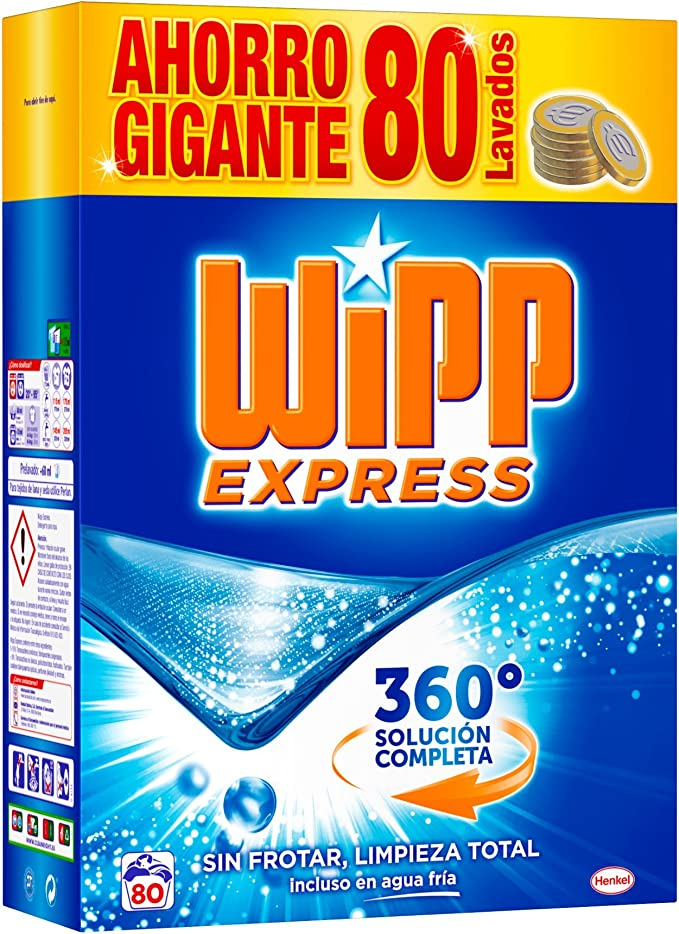 WiPP Express Detergente en Polvo - 80 Lavados (5,2 Kg): Amazon.es ...