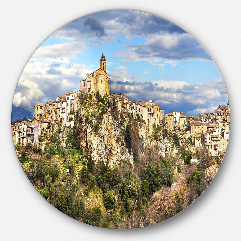 Designart Toffia Hilltop Village Italy - Landscape Round MT7454-C38-Disc, 38x38-Disc of 38 inch, Blue