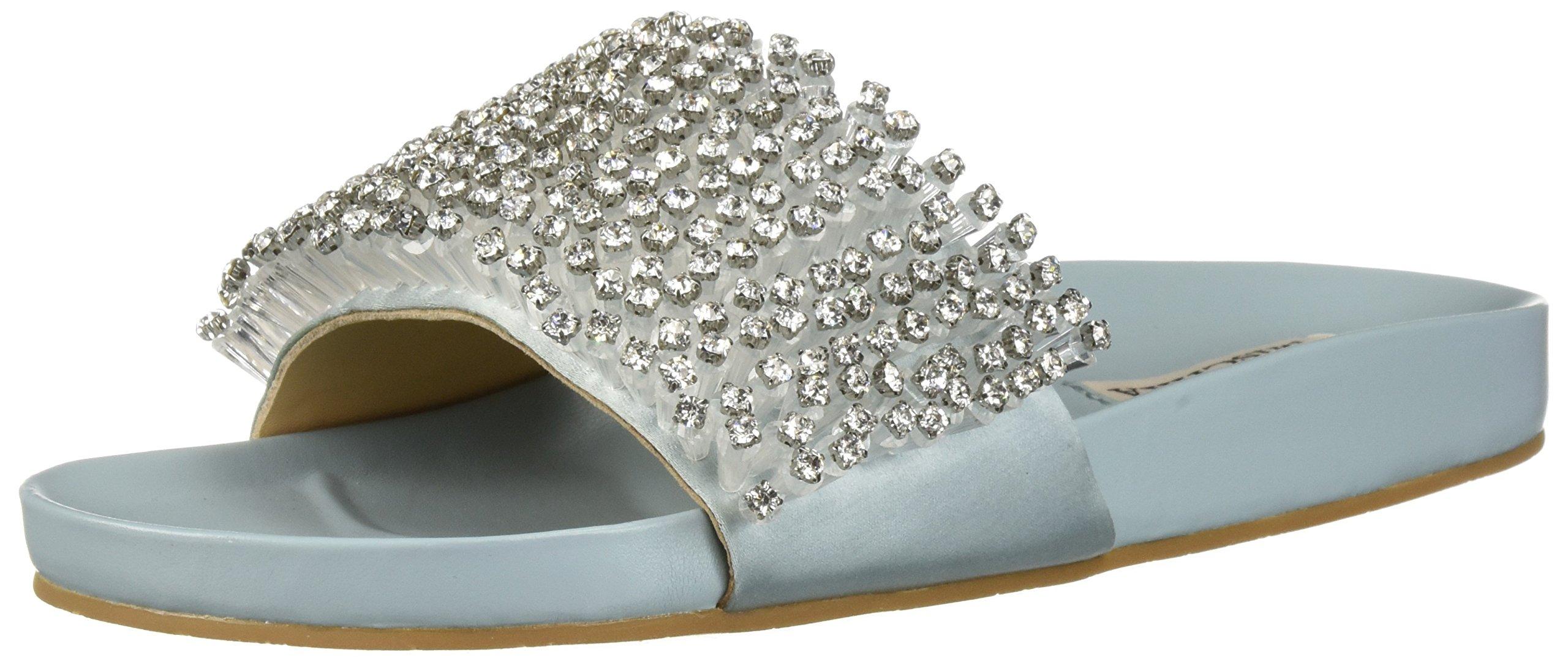 Badgley Mischka Women's Horton Flat Sandal, Crystal Blue, 10 M US