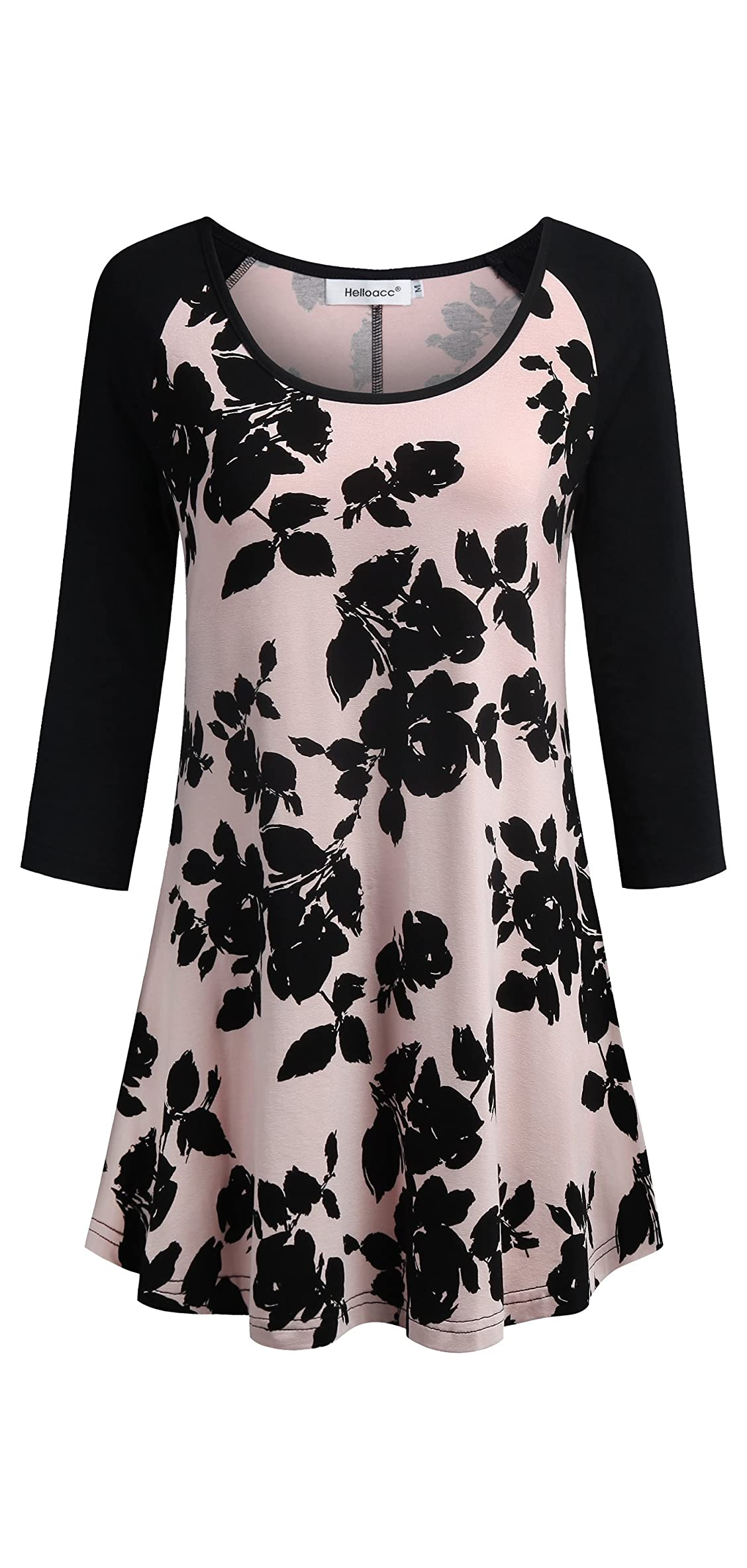 Scoop Neck Floral Tunic Tops For Women / Sleeve Long
