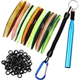 Wacky Rig Tool with 100 Pieces Worm O-Rings and 12 Pieces Soft Stick Baits Artificial Fishing Lures, Wacky Worm Kit for…