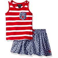 U.S. Polo Assn. Toddler Girls' Tank Top and Printed Chambray Skort