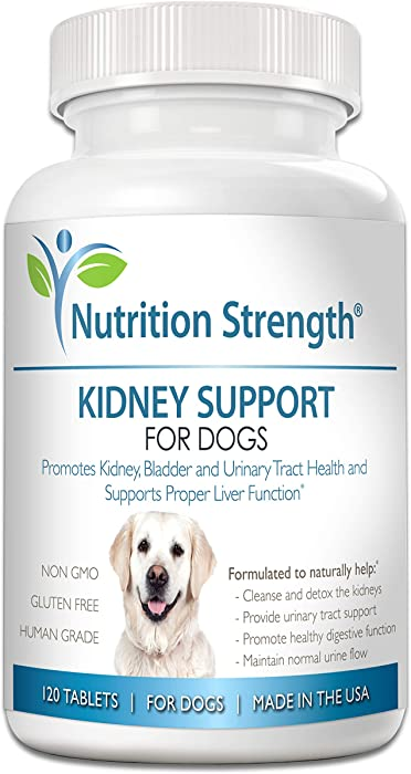 Nutrition Strength Kidney Support for Dogs - Renal, Bladder and Urinary Tract Health Supplement, Plus Immune and Digestive Support, with Organic Cranberry and Astragalus, 120 Chewable Tablets