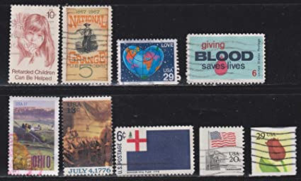 Retarded Children National Grange Love Giving Blood Ohio Bunker Hill Flag Tulips USA Postage Stamps