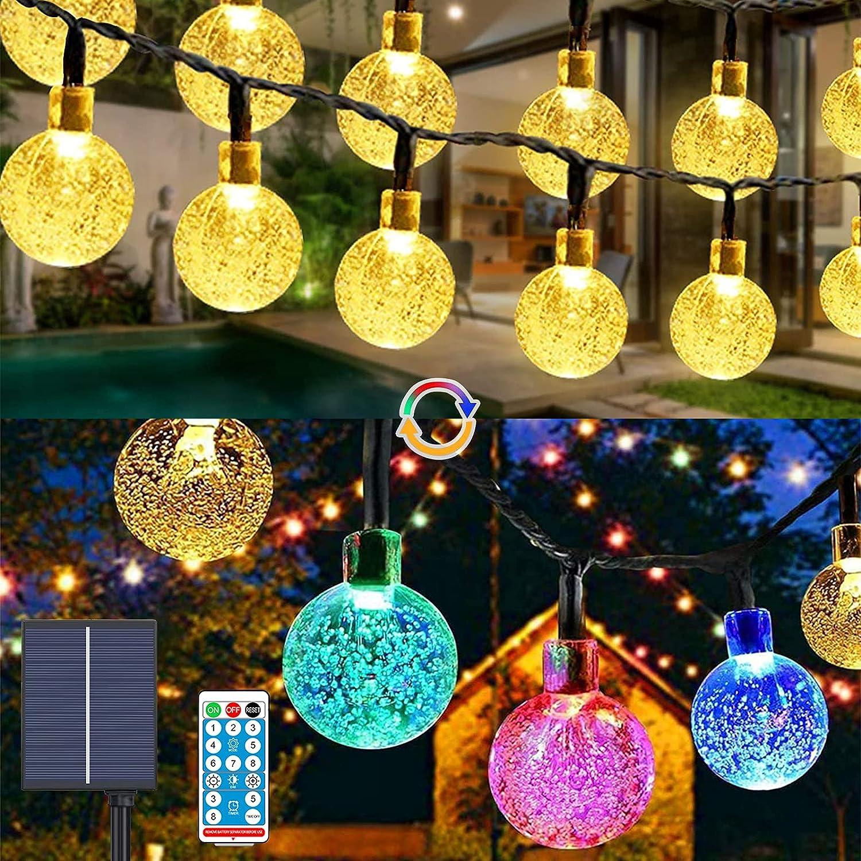 Guirnalda Luces Exterior Solar,Balippe 60 LED Cadena de Bola Cristal Luz 9M , Guirnalda Solar LED Bola de Cristal 8 modos Decoracion con Control remoto para Terraza Jardín Arboles Patio Fiesta Navidad