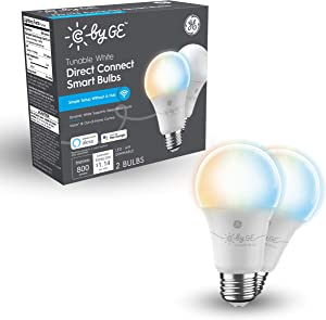 GE Lighting C by Tunable White Direct Connect Light Bulbs (2 A19 Smart LED Bulbs), 60W Replacement, 2-Pack, Smart Light Bulb Works with Alexa and Google Home Without Hub (93128974)